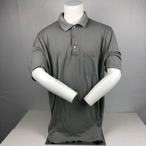Van Heusen Gray Button Up Short Sleeve Polo Shirt